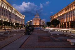Night view of the City centre of Sofia, the capital of Bulgaria. Buildings of Presidency, Buildings of Council of Ministers and Fo. Rmer Communist Party House at Royalty Free Stock Images