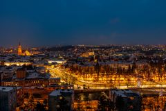 Night view of city of Cluj-Napoca, Romania. Panoramic view of Cluj-Napoca, Romanian city, nightfall wintertime royalty free stock photography