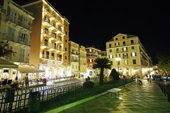 Night view of the city of Corfu adjacent to the Spianada Square royalty free stock photo