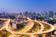 Night view city downtown background with highway intersection curved Stock Image