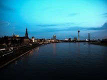 Night view of the city of Duesseldorf. Germany Stock Image