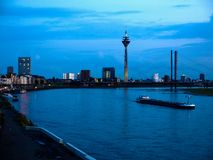 Night view of the city of Duesseldorf. Germany Stock Photos