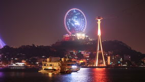 Night view of the city of Ha Long stock video