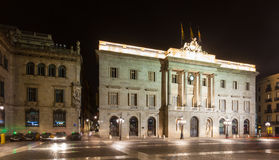 Night view of  city hall.  Barcelona Royalty Free Stock Image