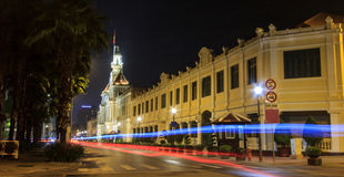 Night View of City Hall, Saigon, Ho Chi Minh City, Vietnam Stock Photos
