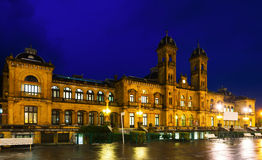 Night view of City hall of San Sebastian Stock Photo