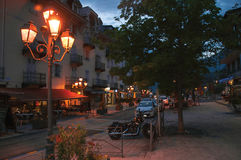 Night view of city hall and street with lamp in Saint-Gervais-Les-Bains stock photos