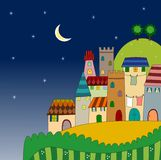 Night view of the city on hill. Colorful graphic illustration for children Stock Photo