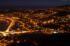 Night view on a city Horta, Faial Royalty Free Stock Images