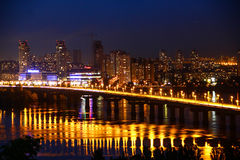 Night view of the city Kyiv. Dnipro river Stock Photo