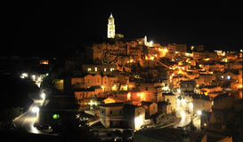 Night view of the City of Matera. Ancient city of Matera, called Sassi di Matera (Stones of Matera), UNESCO World Heritage site, Basilicata, Italy Royalty Free Stock Photography