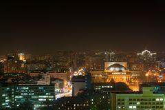 Night view of the city of Novosibirsk Royalty Free Stock Photo