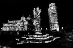 Night view of city of Pisa stock image
