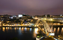Night view of City of Porto, Portugal Royalty Free Stock Photo