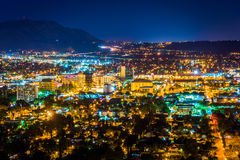 Night view of the city of Riverside, from Mount Rubidoux Park  Stock Images
