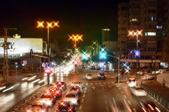 Night view of city streets. And roads with cars Stock Photos
