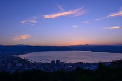 Night view of the city of Suwa Royalty Free Stock Image