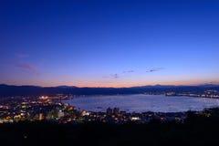 Night view of the city of Suwa Royalty Free Stock Photo