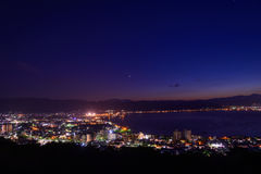 Night view of the city of Suwa Stock Image