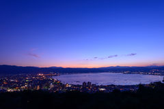 Night view of the city of Suwa Stock Photos
