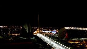 Night view of the city Valencia. bridge city of Arts and science. Spain. Night view of the city of Valencia. The bridge over the city of Arts and science stock footage