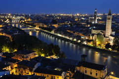 Night view of the city of Verona Royalty Free Stock Images