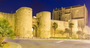 Night view of  city walls. Ronda, Spain Royalty Free Stock Photo
