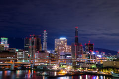 Night view cityscape of  the downtown Kobe city & x28;Sannomiya Distr Stock Photo