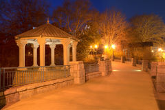 Night view of Clara Meer Gazebo and bridge, Atlanta, USA. Night view of illuminated Clara Meer Gazebo and the bridge over the lake in the Piedmont Park, Atlanta Stock Photo