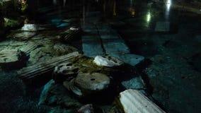 Night View of Cleopatra`s Pool in antique Hierapolis, Pamukkale, Denizli, Turkey. 4k UHD. Able to loop stock video