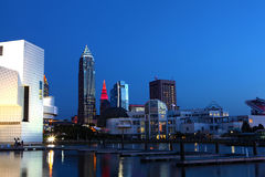 Night view in Cleveland city center Royalty Free Stock Images