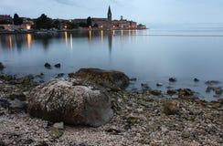 Night view of coastal town of Porec in Croatia Stock Photography