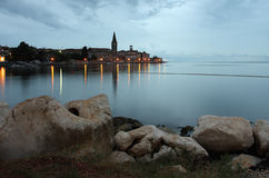 Night view of coastal town of Porec in Croatia Stock Photos