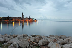 Night view of coastal town of Porec in Croatia Royalty Free Stock Photography