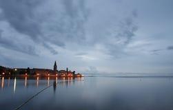 Night view of coastal town of Porec in Croatia Royalty Free Stock Photo