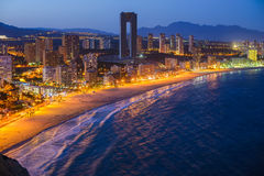 Night view of the coastline in Benidorm with city lights. Breathtaking night view of the coastline in Benidorm with high buildings, mountains, sea and city Stock Photography