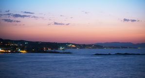 Night view of coastline. Royalty Free Stock Photography