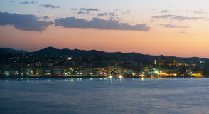 Night view of coastline. Royalty Free Stock Images