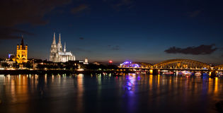 Night view in Cologne. Night view across the Rhine in Cologne Stock Images