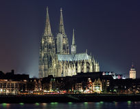Night view of Cologne Cathedral, Germany Stock Photography