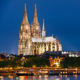 Night View Of Cologne Cathedral, Germany. Europe Stock Images