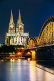 Night View Of Cologne Cathedral And Hohenzollern Stock Images