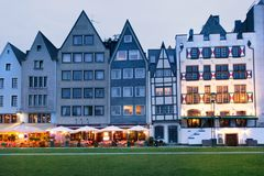Night view of Cologne embankment houses Royalty Free Stock Photo