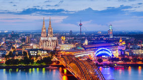 Night view of Cologne in Germany stock photo