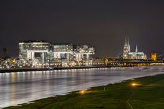 Night View of Cologne by the River stock images