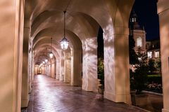 Night view of the City Hall colonnade, Pasadena stock images