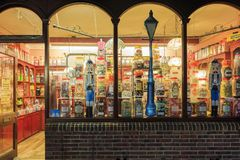 Night view of a colorful candy shop in New Forest National Park Royalty Free Stock Photo