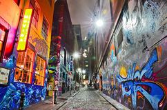 Night view of colorful graffiti artwork in Melbourne Royalty Free Stock Image