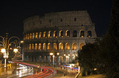 Night view of the Colosseo in Rome Royalty Free Stock Image