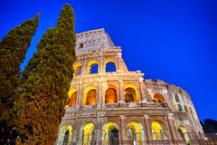 Night view of Colosseum in Rome, Italy. Amazing Rome architectur Stock Photo